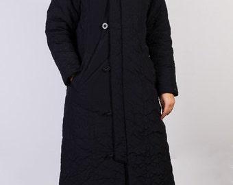 Vintage coat,90's,Quilted coat, women coat, Long coat, Black coat, Faux fur details,Brand Sonneti,Hoodie coat,Size14 UK