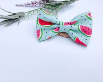Baby Girl Bow Headband - Nylon Headbands - Hair clip - Infant / Toddler /  Fabric Hair Bows / Clips -  watermelon - teal