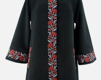 Coats Women's stylish embroidery pattern ornament Ethnic Ukraine