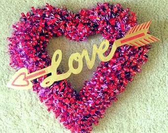 Valentine's Day Wreath, Heart Wreath, Love Sweet Love Wreath, Valentine's Day Heart Wreath, Valentines Wreath, Vday Wreath, Pink Red Wreath