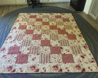 Handmade quilted Vintage Rose quilt by Waverly
