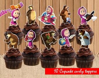 Masha and the bear  Masha and the bear party saplies  Masha and the bear birthday  printable cupcake toppers, INSTANT DOWNLOAD