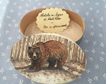 Hand painted spruce wood box with brown bear