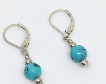 Turquoise Silver Earrings - Southwestern Turquoise Jewelry - Leverback Earrings - Gift for Mom - Everyday Earring - Blue Bead Earring