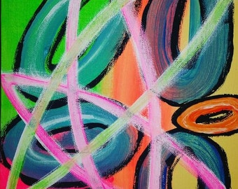 "Black Bubbles 8""x10"" Acrylic painting"