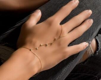 Solid Gold 14k Coins Slave Bracelet- Gold hand chain coins bracelet- Minimalist slave bracelet- Dainty gold slave bracelet