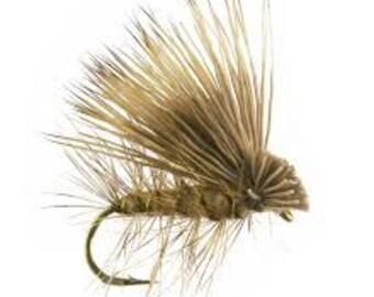 Fishing Flies - 3 Elk Hair Caddis - Olive - Sizes 14, 16, 18