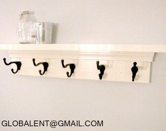 "48"" Shelf with hooks (Heirloom white) (SPRING SALE)"