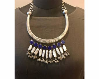 Sterling silver statement necklace - traditional Indian neckpiece