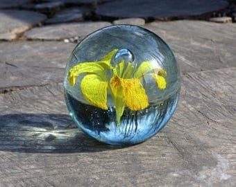 Yellow flower in glass paperweight Home glass decor Paper weight glass art Vintage bubble glass artwork Office desk accessories Boss gift