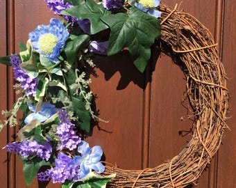Lavender purple and blue front door wreath, spring flowers, Mother's Day gift, present for ladies, front door decor, wedding gift