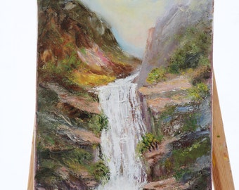 Original Oil Painting on Canvas. Landscape painting. Contemporary Fine Art. Waterfall Painting