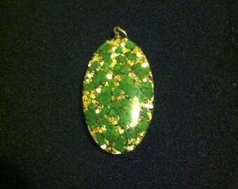 Vintage Gold Foil Lucite Pendant