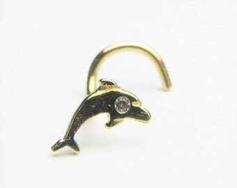 14kt solid gold nose ring twisted dolphin