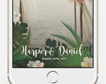 Tropical snapchat filter * Hawaiian snapchat Beach Party Geofilter Luau Snapchat geofilter Tropical Wedding filter Tropical filter Palm leaf