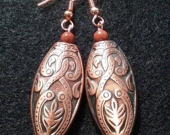Vibrant Aztec Style copper tone earrings