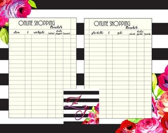 Online shopping tracker - Printable - as organizer in pocket format
