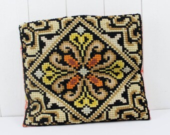 Vintage decorative pillows - Needlepoint Pillow, French Pillow, Embroidered Pillow, Vintage Pillows, Handmade Pillows, Pillow Covers 16 x 16