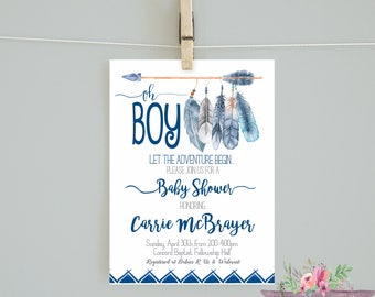 Adventure shower invitation/ Oh Boy Baby Shower Invitation / Adventure Begins Navy Mint Tribal Invitation/ Oh Boy Invitation