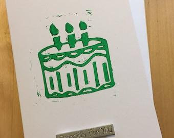 Cake Lino Print Birthday Card