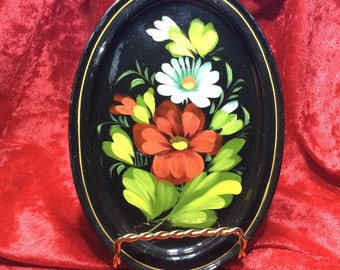 Soviet Russian Tole Tray Small Oval Vintage