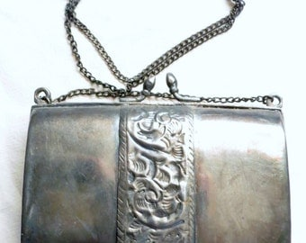Vintage Silver Purse with floral detail and blue velvet lining, accessories, handbag, chain, retro