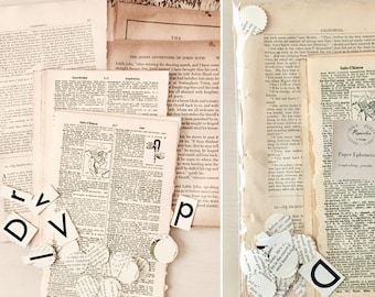 Scrapbook Paper Kit - Dictionary Pages - Ephemera - Journal - Craft