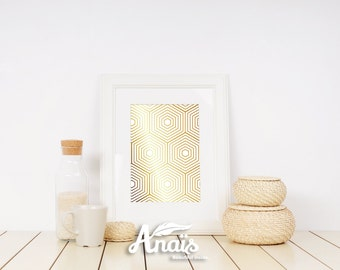 Hexagons pattern - Gold foil print, hexagon, Valentine's day, Gift, texture, wall decor, ready to frame,