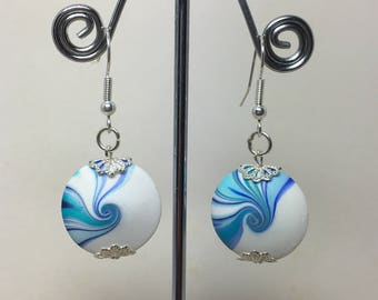 Polymer clay Swirly bead earrings. White and blue, summer jewellery.
