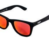 Magnetic Matt Black unisex sunglasses red lenses