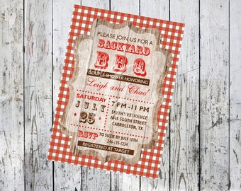 Red Checked BBQ Invitation