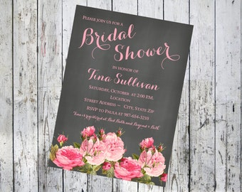 Chalkboard with Pink Roses Bridal Shower Invitation
