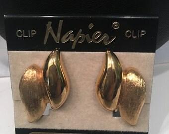 Vintage Napier! Estate Large Gold Tone Earrings!