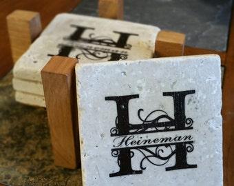 Personalized Monogram Coaster Set