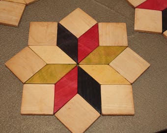 "Set of 4 below of flat type marquetry of wood patterns geometric ""french Country FRANCE"""