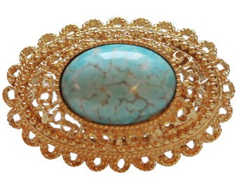 Brooch VINTAGE - Neo Classic oval Turquoise color