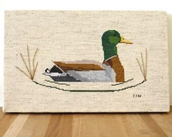 Mid Century handstiched Handsome duck Cross Stitch