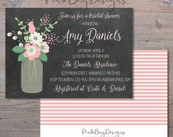 Chalkboard Floral Mason Jar Bridal Shower Invitation, Chalkboard Bridal Shower Invite, Mason Jar Invitation, Floral Bridal Shower