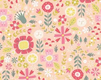 Coral Floral Goldilocks Riley Blake Fabric by the Yard