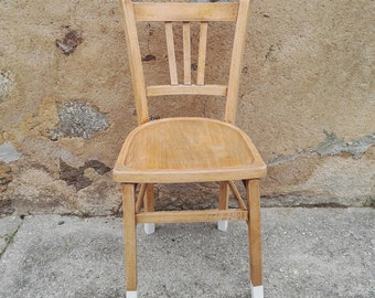 Marc - Polished natural wood and base Bistro Chair painted white