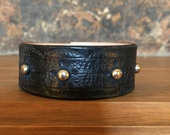 Leather, Cuff, Bracelet, Navy, Embossed, Hand Tooled, Eagle head, Snap closure,Deer skin Lined, Men's Gifts, Women's Gifts, Unique, 6oz