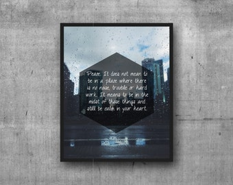 Peace Quote Digital Print Photography Print
