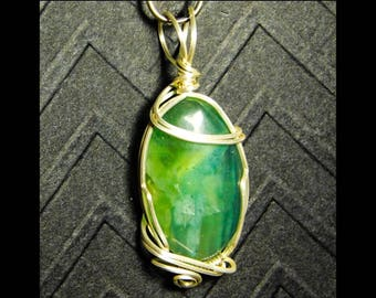 Wire wrapped Serpentine gemstone necklace Oval shaped pendant handmade wire wrapped custom jewelry Nickel Free Silver Wire brass core