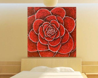 Red Wedding gift - Texture Acrylic Painting Home Decor - Square Abstract Painting - Red Rose Modern Art - Impasto Flower Art - Unique Gift