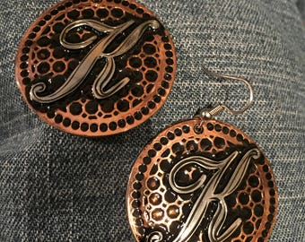 copper earrings with nickel initial