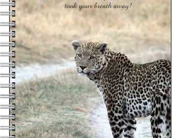 Leopard Journal,Leopard Notebook,Leopard Photography,80 page lined,Spiral bound,Travel Journal,Inspirational quote,Safari Journal