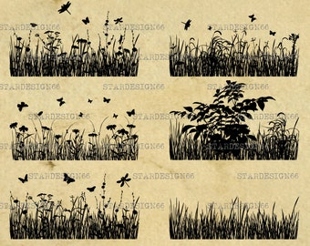 Digital SVG PNG JPG Plants, grass, silhouette, vector, clipart, instant download