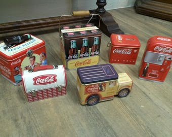 Lot of 6 Coca Cola Candy Tins