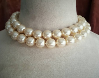 Vintage White Iridescent Single or Double Strand Glass Pearl Necklace with Gold Chain and Clasp
