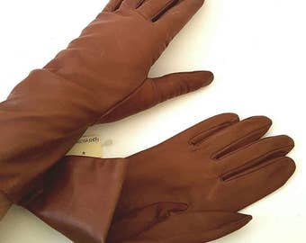 New Old Stock Nordstrom so Brown Kid Leather Gloves Size 7